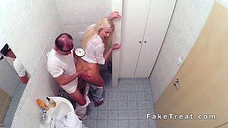 Busty beautiful blonde bangs doctor in toilet