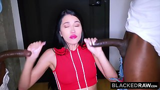 BLACKEDRAW Dark haired beauty takes on two huge black cocks