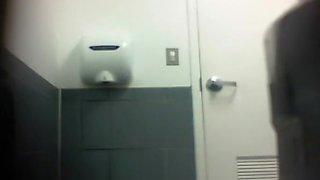 Ebony girl caught peeing in toilet