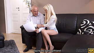 DADDY4K Old and bald man has an affair with new GF of his naive son