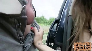 Big titted russian teenager fucked on the hood of a car