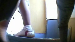 Cute pussy of sexy teen girl on hunkers pissing on toilet