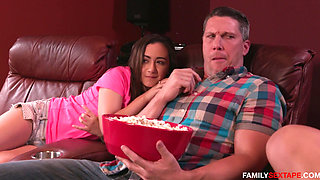 Dad fucks step daughter and her friend watching a matinee