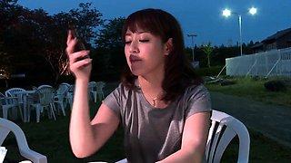 Riho Mikami sucks a stiff dick in a public toilet  - More