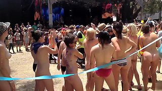 Naked students get ready to compete in a marathon
