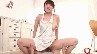 Hot Japanese fucked in the kitchen while cooking lunch for the guy