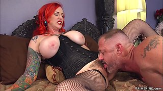 Monster tits MILF pegging man slave