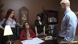 Johnny Sins,  Kelly Divine,  Kianna Dior,  Sativa Rose in the office seduction scene