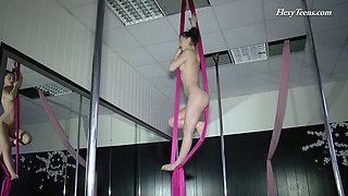 Flexible teen Tamara Neto gets naked during an Aerial Yoga Class