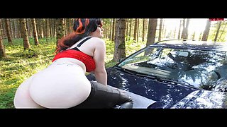 Some girl named Heidi gets creampied on the hood of a car