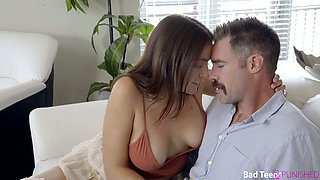 Sexy stepdaughter Blair Williams gets her ass spanked and pussy fucked