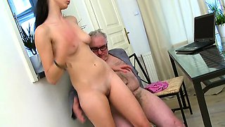 Babe gives old teacher blowjob untill that babe gets cumshot
