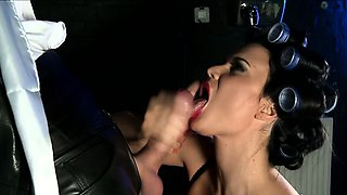 Busty toilet cleaner Jasmine Jae spies on a suited punter