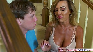 Hot Milf Aubrey Black Comforts Her Son With A Shy Friend