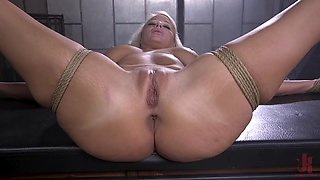 Naked and bound blonde is fucked in many ways by her master