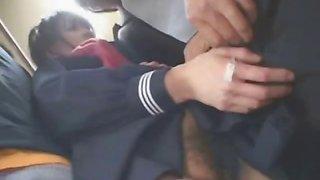 Asian Schoolgirl Handjob in a Bus!