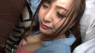 Busty Japanese amateur in a short skirt gets throbbed in the toilet