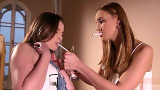 Busty Domina Kayla Green Makes Submissive Lesbians Liona & Lulu Love Cum