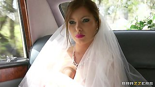 Sexy bride Donna Bell lets Danny D fuck all her holes in a limo