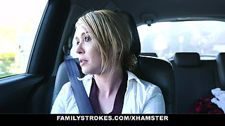 Family Strokes - Cute Teen Sucks Her StepDad For A Car