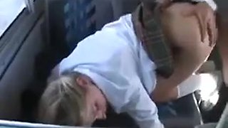 Teen girl fucks an Asian man in a school bus