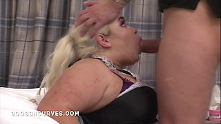 A big cock for a Busty BBW maid in a very short skirt