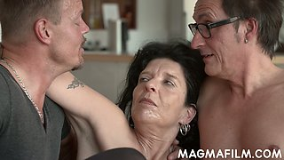 Real used whore in black stockings Noemi is fucked hard by two dudes