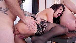 Hung stud bangs a milf and her hogtied daughter