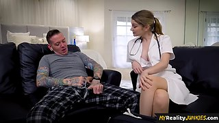 The busty nurse fixes the patients cock before the blowjob