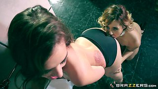 Gia Paige hooks up with stunning Demi Lopez for a shag in a restroom