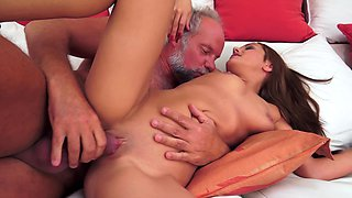 A naive and sexy girl that loves old men is getting rammed by one