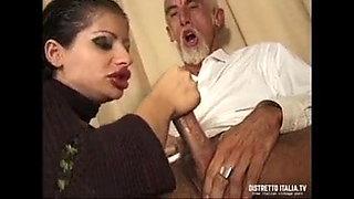Elena Del Monaco in black nylon fucks anally with old man