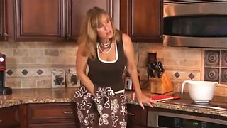 Busty chick mother in law takes the biggest cock in the kitchen ! family pies