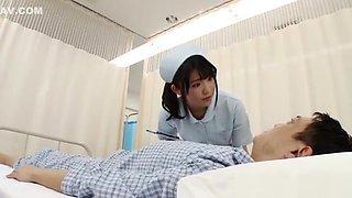 Naughty Asian nurse in white stockings enjoys position 69