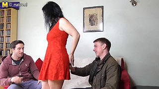 One Horny British Housewife Sucking And Fucking Two Cocks - MatureNL
