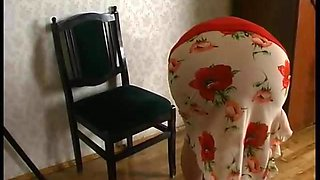 Horny russian granny's sex with a guy