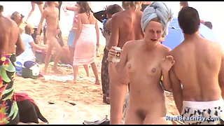 Awesome hairy pussy video made on the nudist beach