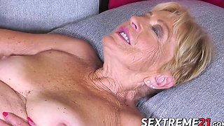 Lingerie granny swallows cum after banging hot young stud