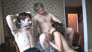 Jealous brunette engages in a revenge fuck in front of her tied and gagged BF