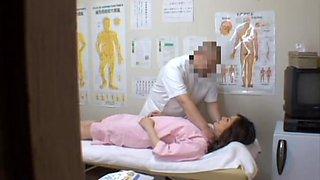 Chubby Japanese teen enjoys a voyeur erotic massage fun