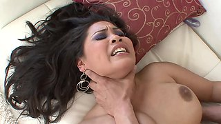 A Latina with large boobs is getting a dick inside her cunt