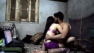 Sexy Indian girl with big natural tits enjoys a thick pole