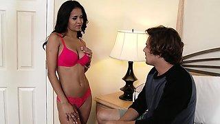 Beautiful Abby Lee Brazil gives blowjob