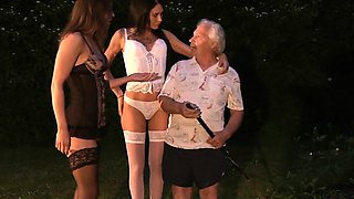 Old fat daddy outdoor 69 fuck with 2 busty hot tee