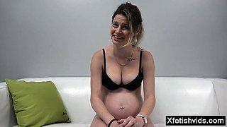 Hot pregnant casting and cumshot